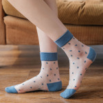 Polka Dot Crystal Socks Japanese Socks Summer Thin Section Korean Little Transparent Glass Kasi Socks Ankle Stockings - Blue One Size