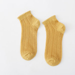 Mesh Cotton Socks Female Socks Shallow Mouth Thin Section Japanese Summer Hollow Breathable Socks Ankle Stockings - Yellow One Size