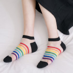 Stockings Female Ultra-thin Glass Rainbow Kasi Boat Socks Summer Breathable Socks Fashion Tide Ankle Stockings - Blue One Size