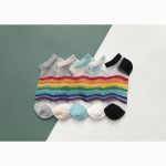 Stockings Female Ultra-thin Glass Rainbow Kasi Boat Socks Summer Breathable Socks Fashion Tide Ankle Stockings - Black One Size