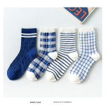 Autumn And Winter Socks Lady Fashion Plaid Striped Socks In Tube Socks Personality - Blue One Size
