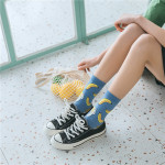 Spring Fashion Wind Socks In Tube Socks Personalized Fruit Avocado Wild Cotton Socks - Blue One Size
