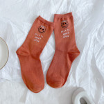 Ms Autumn And Winter Fashion Stamping Smiley Cartoon Socks In Tube Socks Cotton Socks Wild - Red Leather