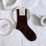 Autumn Mercerized Cotton Socks In Tube Socks Solid Color Flat-panel Japanese Wild Female Socks - Dark Gray (almost Black)