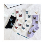In The Fall Of Cotton Socks In Tube Socks Personalized Butterfly Fashion Wild Streets Of Socks - Red And White Butterfly One Size