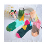Department Of Piles Of Socks Wind Hit The Color Card Personalization Socks Stockings Socks Female - Lake Green One Size