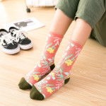 Ms Autumn Literary Personality In Tube Socks Socks Socks Female Fashion Pink Powder Explosion - Tehran Red Flower One Size