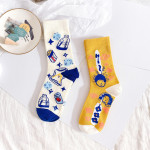 Ms Head Pattern Animation In Tube Socks Spring And Summer Personality College Wind Illustration Socks Female Tide - Yellow One Size