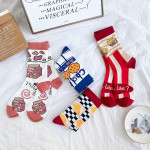 Ms Cotton Socks Tide Personality Stockings Wind Socks - Orange Cuffs Big Round Face One Size