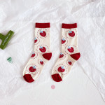 20 Women's Socks Cotton Ms. Cartoon Fashion Stockings Personalized Stockings Wild Fruit Strawberry Little Red Book - Pink (letter + Two Strawberries) One Size