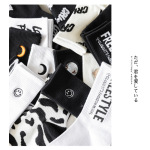 20 Women's Socks Cotton Socks Tide Wild Black And White Tube Socks Student Socks Red Book - Black CRUSH One Size