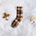 20 Years Stockings Literary Personality Tide Color Plaid Socks Cotton Socks Female Wind - Pale Pinkish Gray