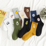 Ins HyunA Style In Tube Socks Wild Fruit Cartoon Cute Cotton Socks - Gray One Size