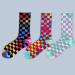 Absorbent Terry Socks Tie Dye Socks Men Crew Socks Breathable Tide Female Students Checkered Cotton Socks - Black Plaid One Size