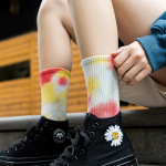 Fashion Tie Dye Crew Socks Tide Men Women Cotton Socks Colorful Long Socks - 2 - Purple One Size