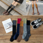 Female Socks Calf Socks Net Mixed Colors JK Japanese Hit The Streets In Knee-high Stockings Piles Of Girl Students In Pure Cotton Tide - Dark Gray One Size