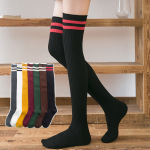 Knee Socks Stockings Female College Wind Gaotong Socks, Stockings Japanese Two Bars Hold-ups - Burgundy One Size