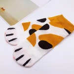 Women's Socks Winter Socks Cute Japanese Cartoon Cat Claw Socks Ship Socks Xia Jiqing New Student Ms. Cotton Socks To Help Low - Yellow And White Stripes One Size