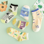 Cartoon Socks Female Socks Shallow Mouth Ins Korean Ship Socks Japanese Cute Cartoon Pattern Summer Cotton Student - Yellow One Size