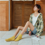Spring Summer Cotton Socks Japanese Retro Color Socks Solid Wild Personality Foundation Socks Women's Socks Ankle Stockings - Bright Yellow One Size