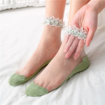 Spring Silk Lace Stockings Socks Transparent Glass Crystal Si Leisi Wild Fashion Socks Women's Socks Ankle Stockings - Blue One Size