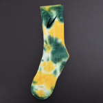 Tie Dye Crew Socks Tube Socks Female Sports Socks Tide Male Ins High-top Cotton Socks - Yellow-green 10- One Size