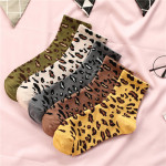 18 Autumn And Winter Sock Fashion Personality Ms. Leopard College Wind Cotton Socks In Tube Socks - Coffee Color One Size