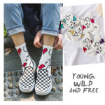 20 Spring And Summer Socks Love The Wind In Tube Socks Female Wild Street Style Cotton Socks Comfortable Socks - Purple One Size