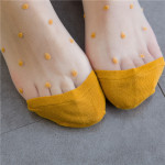 Spring Summer Socks Japanese Kasi Little Round Glass Fiber Socks Wild College Wind Ankle Stockings - Turmeric One Size