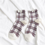 19 Spring And Summer Socks Japanese Lady Retro Checkered Wood Ear Socks In Tube Socks Personalized Socks Fashion - White One Size