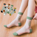 Socks Spring Summer Fruit Fashion Stockings Sika Glass Socks Transparent Thin Socks Ankle Stockings - Black One Size