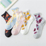 Spring Transparent Glass Silk Socks Personalized Small Daisy Flowers Silk Stockings Ankle Stockings - Black One Size