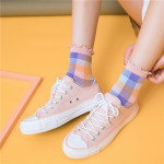20 Spring Socks Japan And South Korea Lattice Tube Socks Ins Wild Wind Wood Ear Socks Relent - Dark Gray One Size
