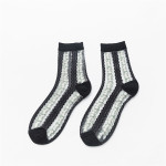 2020 Summer Fashion Small Floral Glass Silk Socks Crew Socks Personalized Stockings Fight Cotton Socks - White One Size