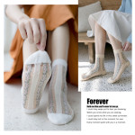 2020 Summer Fashion Small Floral Glass Silk Socks Crew Socks Personalized Stockings Fight Cotton Socks - Gray One Size