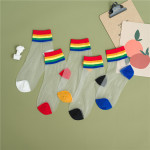 Spring Summer Fashion Rainbow Glass Silk Socks Lady Socks Stockings Thin Transparent Silk Ankle Stockings - Black One Size