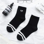 20-year Japanese Cartoon Cotton Socks In Tube Socks Tide Female Classic Black And White Striped Socks Wild Stockings - The First Two Bars Of Black Socks One Size