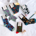 HHWAlK Autumn And Winter Socks Cotton Socks Japanese Flowers In Double Needle Cylinder Dual Personality - Black (purple Cuffs) One Size