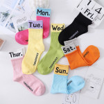 20 Autumn And Winter Socks Seven Bright Lady In Tube Socks Cotton Socks Female Personality Seven Days Sporty English - Blue Sunday One Size