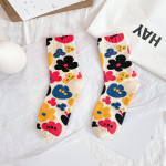 20 Autumn Personality Fashion Cotton Socks In Tube Socks Ms. Flower Wild Fashion Socks Socks Bubble Mouth - Black One Size