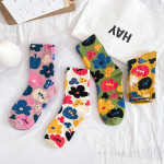 20 Autumn Personality Fashion Cotton Socks In Tube Socks Ms. Flower Wild Fashion Socks Socks Bubble Mouth - Green One Size