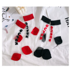 Fashion Transparent Glass Fiber-in-tube Socks Silk Followed By The Letter SUPER Thin Socks Fashion Stockings Ankle Stockings - Red