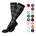 Graduated Compression Sock Breathable Wicking Riding Running Stockings Boots Scoks for Flight - Black L / XL
