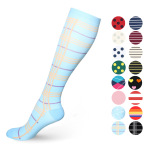 Horse Riding Compression Sock Stripes Running Quick Dry Outdoor Sports Socks Breathable Boots Comression Scoks for Flying - A Section L / XL