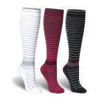 Pin Striped Graduated Compression Socks Quick Dry Riding Breathable Sports Socks Boots Comression Stockings for Flight Travel - Purple EU 35-40
