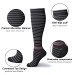 Pin Striped Graduated Compression Socks Quick Dry Riding Breathable Sports Socks Boots Comression Stockings for Flight Travel - Blue EU 39-45
