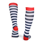 Striped Compression Sock Marathon Runners Quick Dry Outdoor Riding Breathable Socks Boots Hose Riding Comression Scoks for Flight - Red  White And Blue Stripes S / M