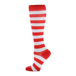 Barreled Compression Sock Stripes Running Male Female Quick Dry Outdoor Riding Breathable Adult Sports Socks Trainer Socks - Red And White Stripes S / M