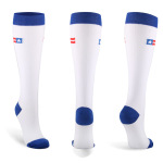 Blue-white Flag Compression Sock Jogging Quick Dry Outdoor Riding Breathable Adult Sports Socks Trainer Socks - Blue And White S / M