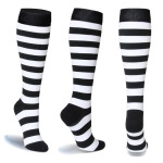 Compression Sock Stripes Running Quick Dry Outdoor Riding Breathable Adult Sports Socks Trainer Socks - Black And White Stripes S / M